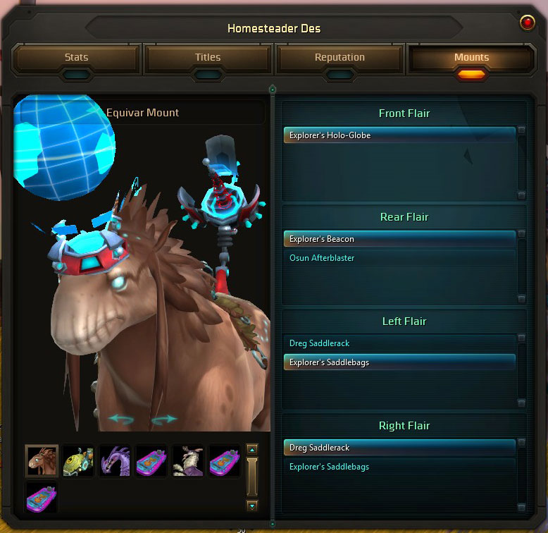wildstar mount customization window